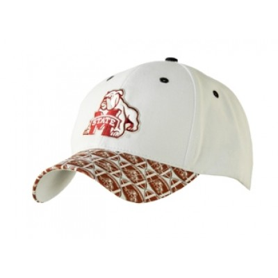 Mississippi State University Men's Adjustable Baseball Cap-White