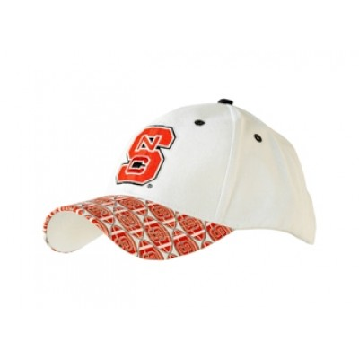North Carolina State University Men's Adjustable Baseball Cap-White